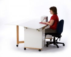 Tracey's Tables cabinet top tilt option provides better ergonomics