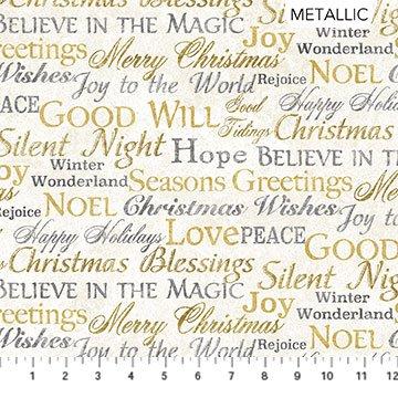 Stonehenge White Christmas Neutral Gold Words