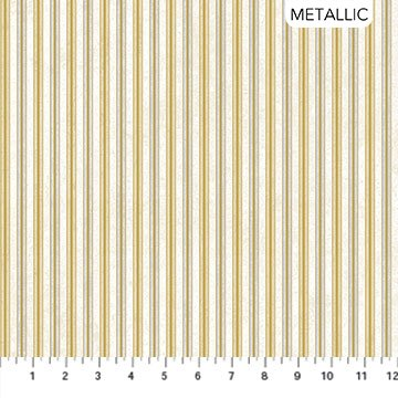 Stonehenge White Christmas Neutral Gold Cream Stripe