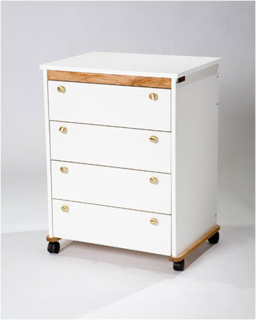 Tracey's Tables 4 drawer Hideaway unit uses full extension drawer tracking and solid brass hardware