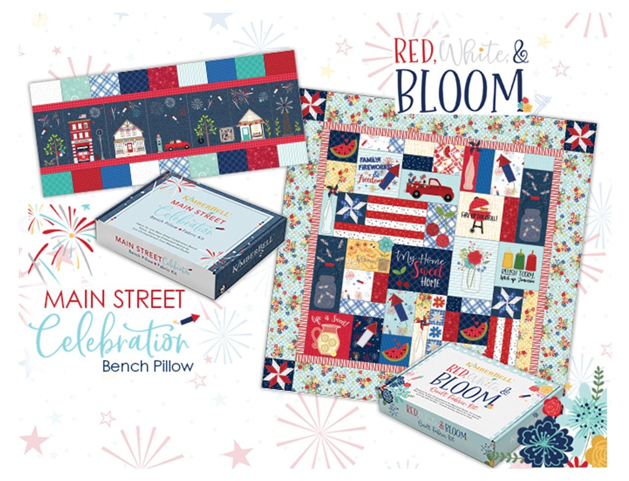 I want it all - Embroidery Version: Kimberbell Red, White & Bloom Bench Pillow and Quilt