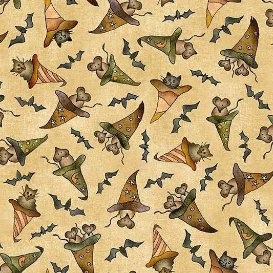Bats Cats Rats with Hats - Beige