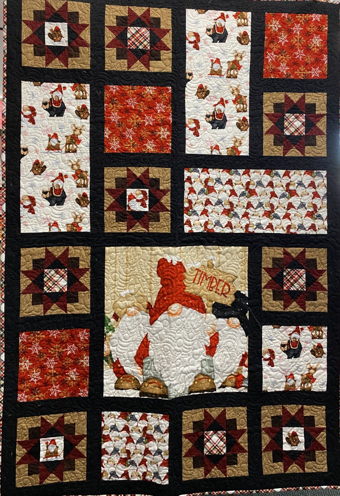 Flannel Christmas Gnomes  Quilt