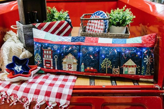 Sewing Version Bench Pillow Package: Kimberbell Main Street Celebration