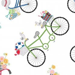 Kimberbell Vintage Boardwalk Bicycles on White