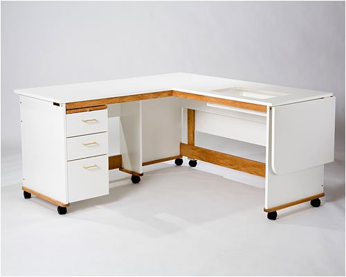 Tracey's Tables Quilter's Workstation L-shape design offers plenty of leg and work space.
