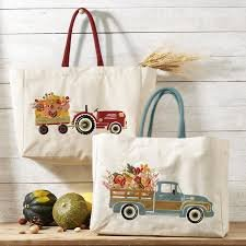 Tote Bag Farmers Market Blue Truck