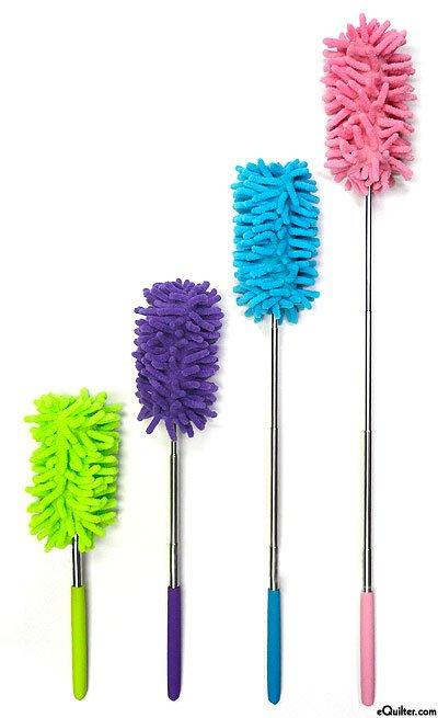 Fuzzy Stick Extendable Microfiber Duster - Blue