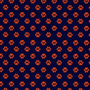 Fabric Finders Orange paws on Navy Background