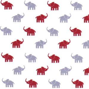 Fabric Finders White with small red and gray elephant 1995