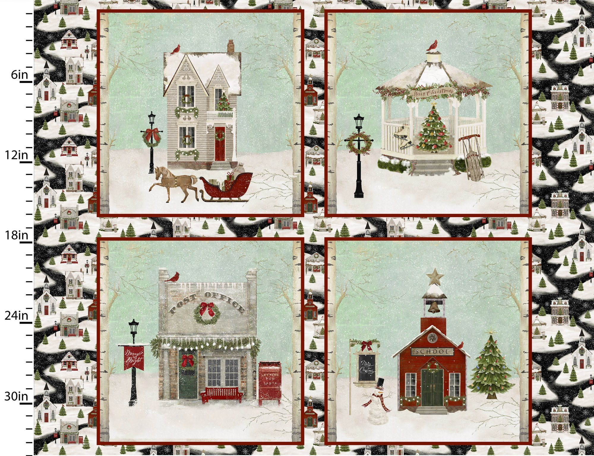 Home for the Holidays - 4 Village Buildings  - 43 x 36 Panel