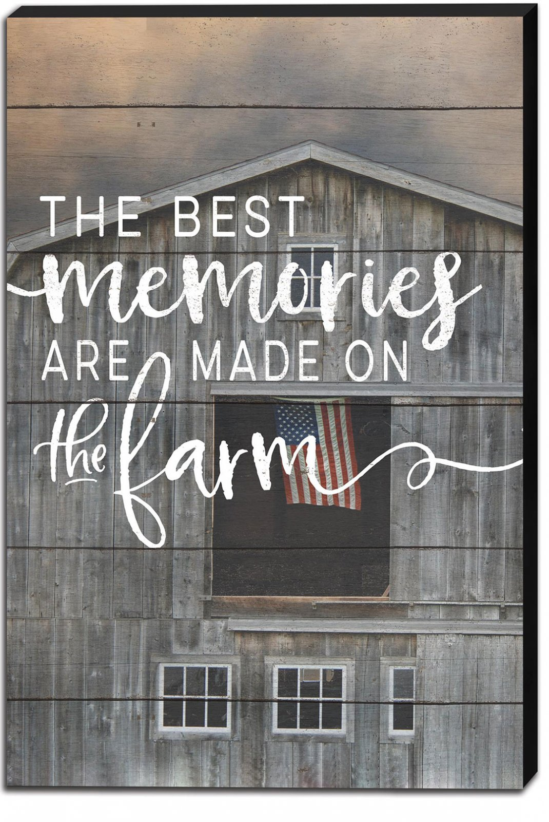 12 x 18 The Best Memories Barn and Flag Canvas