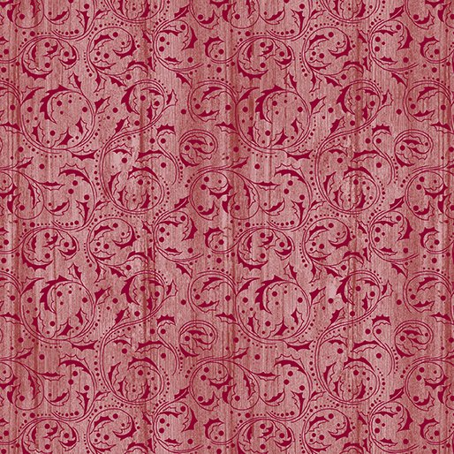 Festive chickadees - Washed Scroll Lt Red