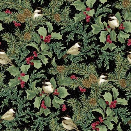 Festive chickadees - Chickadees/Holly All Over