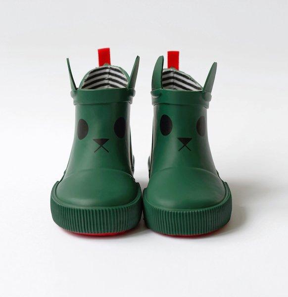 Kitty Rain Boots - Green by Boxbo