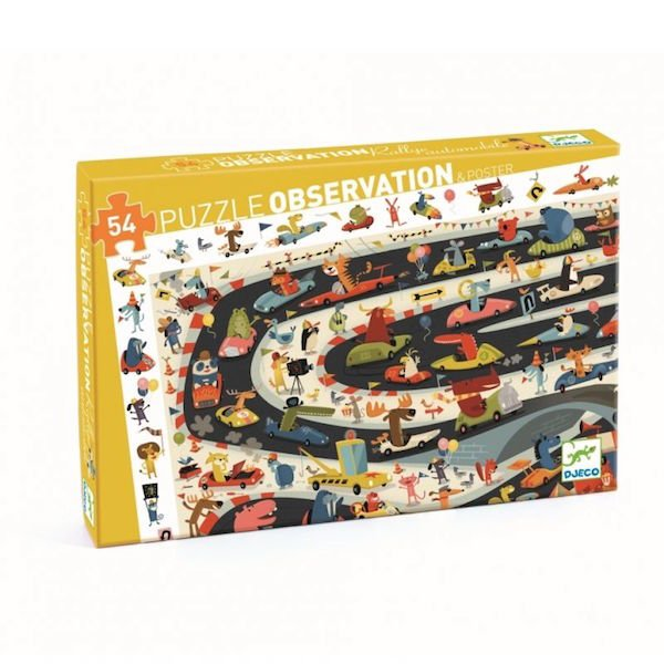 54 Piece Observation Puzzle - Automobile Rally by Djeco