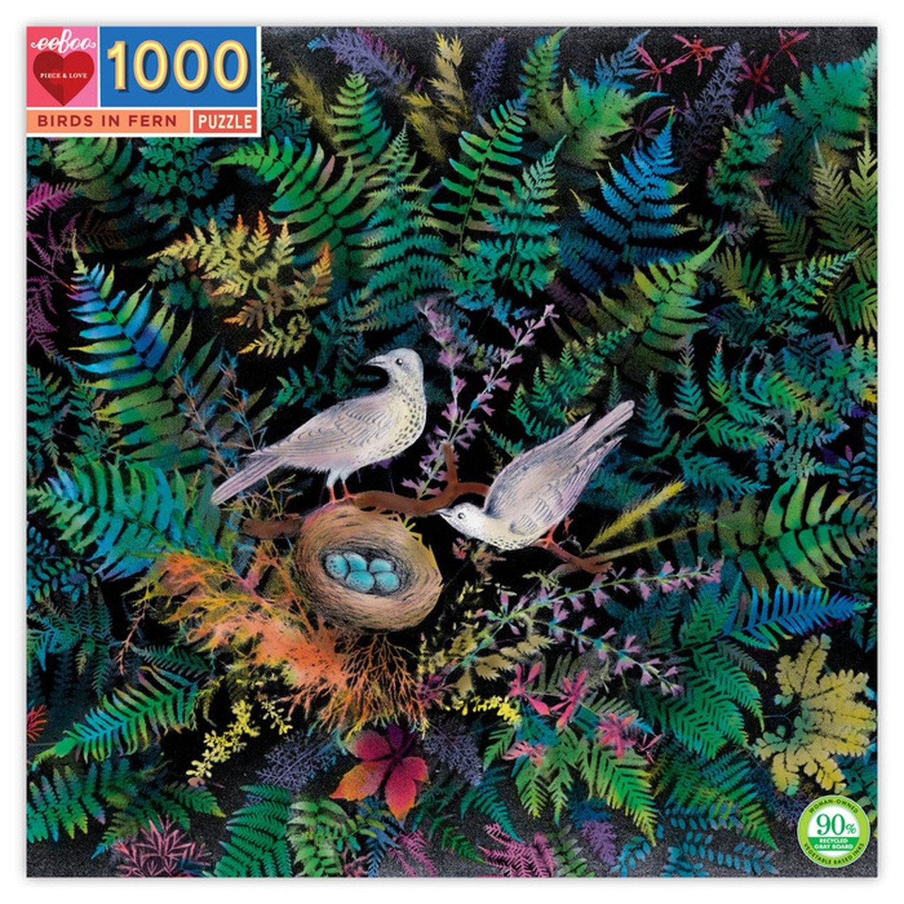 Birds in Fern 1000 Piece Puzzle by Eeboo