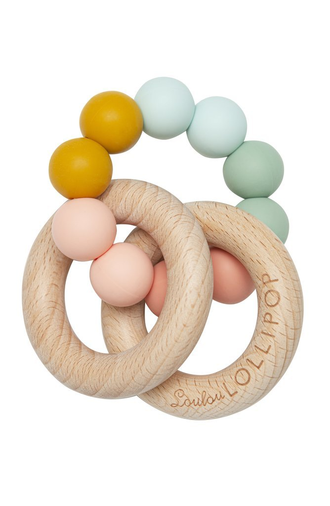 Teether - Rainbow Bubble and Wood by Loulou Lollipop