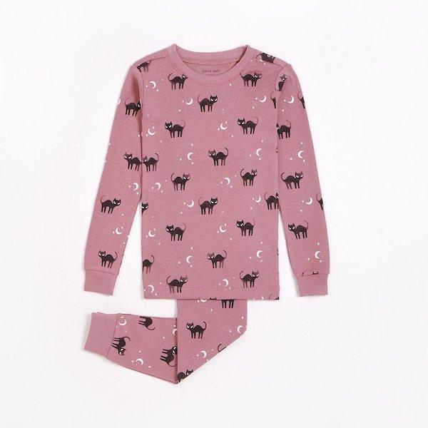 Black Cats And Moonbeams Pajama Set by Petit Lem