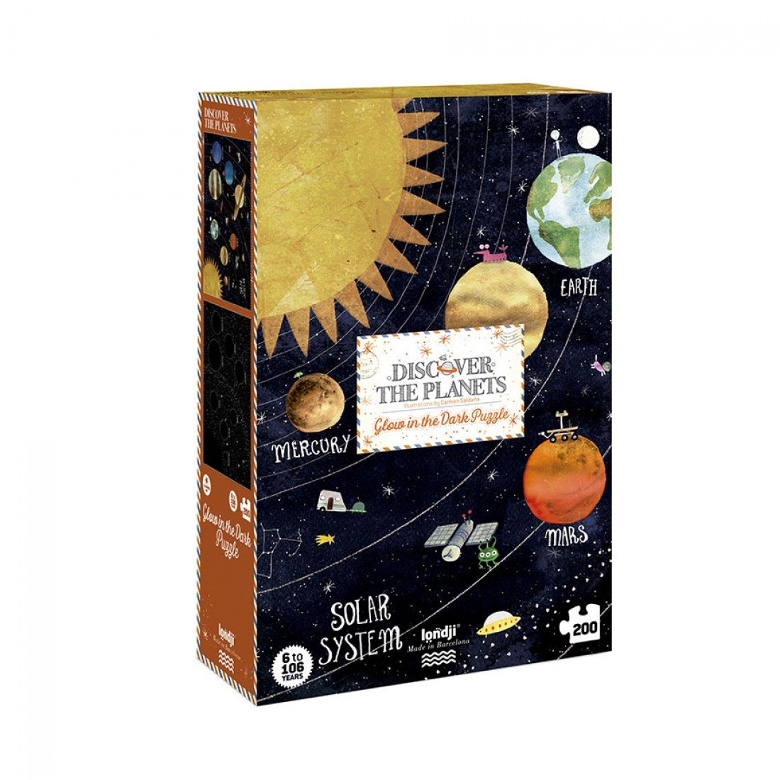 Discover the Planets  Glow-In-The-Dark 200 Piece Puzzle by Londji