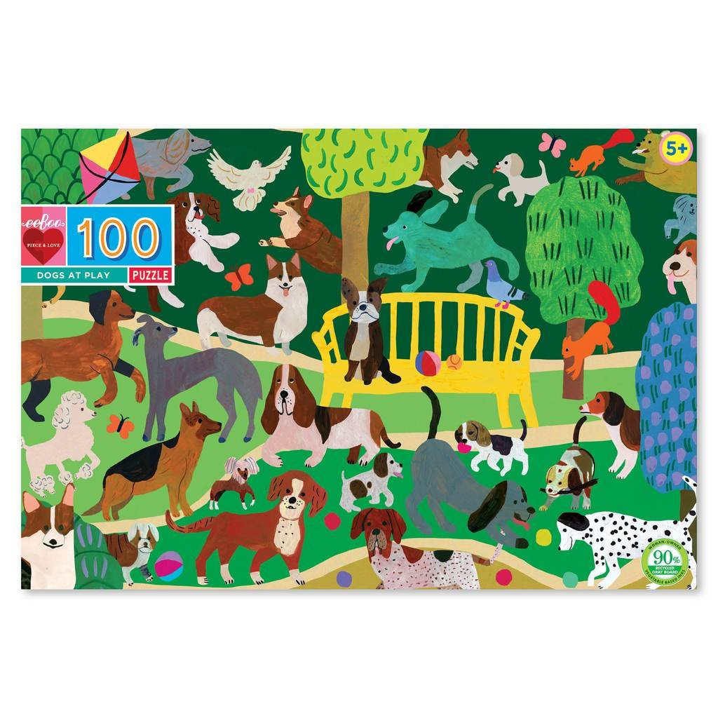 Dogs at Play 100 Piece Puzzle by Eeboo