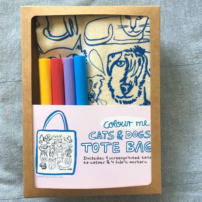 Colour Me Cats And Dogs Tote Bag by Draw Me A Lion
