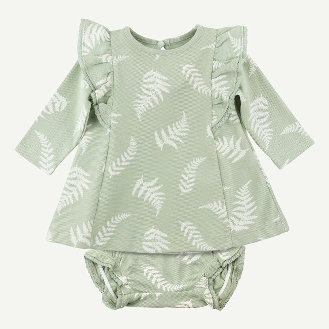 Fern Print Flutter Sleeve Dress With Bloomers by Oliver & Rain