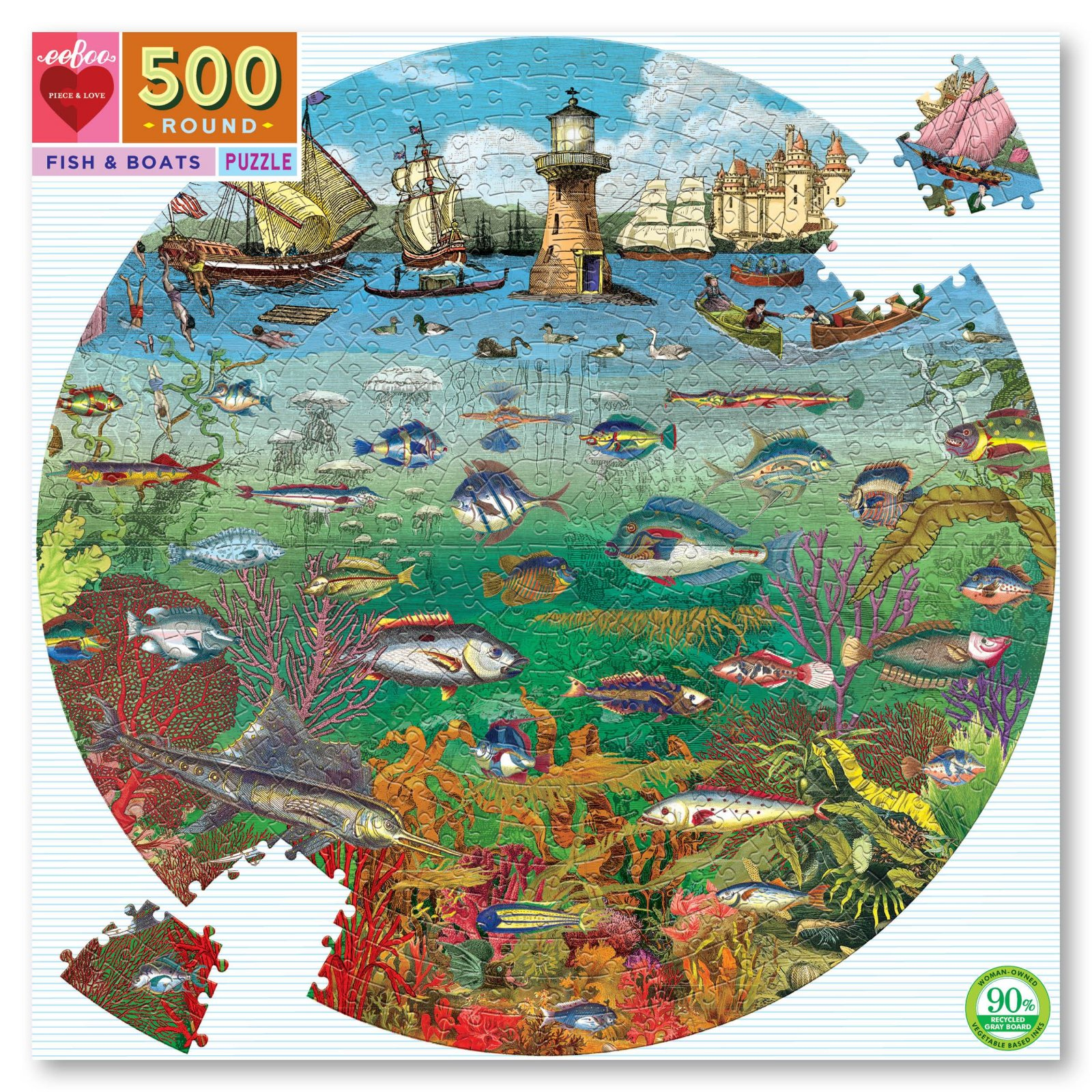 Fish and Boats 500 Piece Puzzle by Eeboo