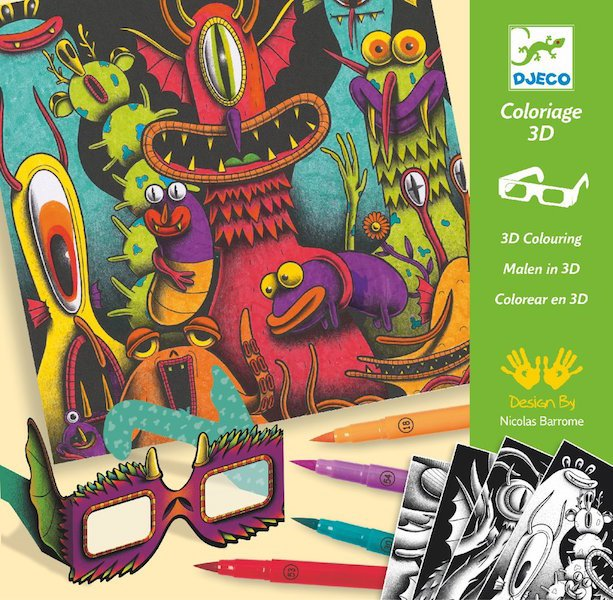 3D Coloring Kit - Funny Monsters by Djeco