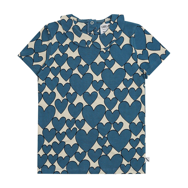 Blue Hearts Peter Pan Collar Top by Carlijnq