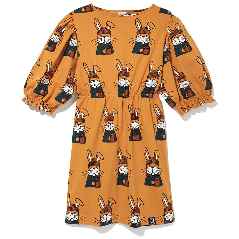 Cup of Joe Bunny Bubble Sleeve Dress by Kukukid
