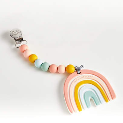 Teether with Bib Clip - Rainbow by Loulou Lollipop