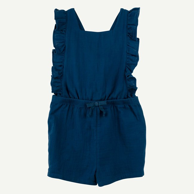 Navy Ruffle Romper by Oliver and Rain