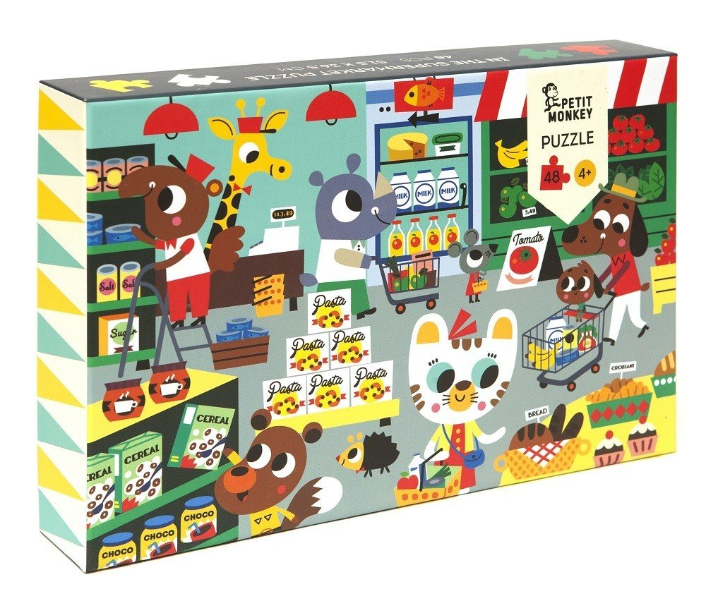 In The Supermarket 48 Piece Puzzle by Petit Monkey