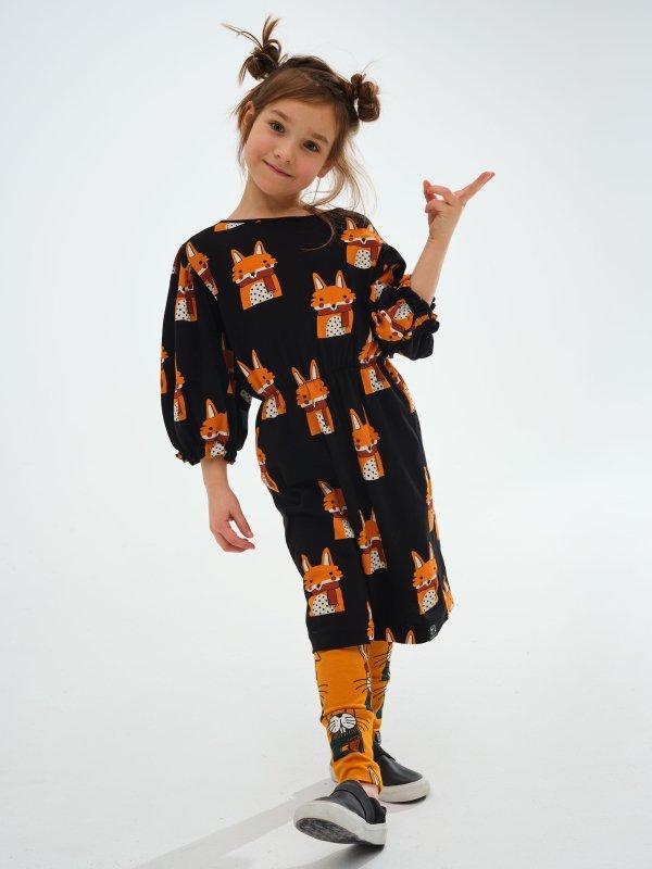Fall Feels Fox Bubble Sleeve Dress by KuKukid