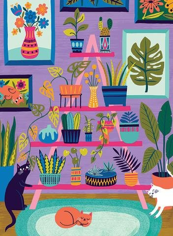 Purrfect Plants 500 Piece Puzzle by Badge Bomb