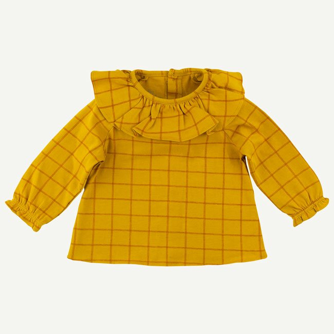 Mustard Plaid Long Sleeve Collared Top by Oliver & Rain