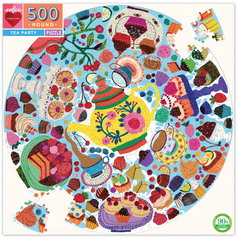Tea Party 500 Piece Round Puzzle by Eeboo
