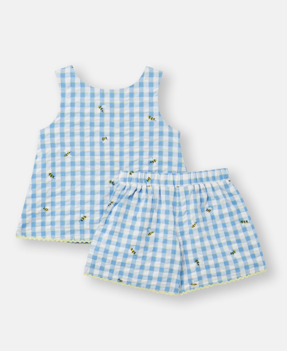 Bee-autiful Blue Gingham Set