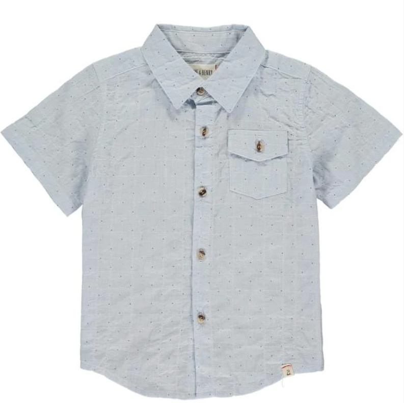 Blue Dot Woven Button-Up Shirt by Me + Henry
