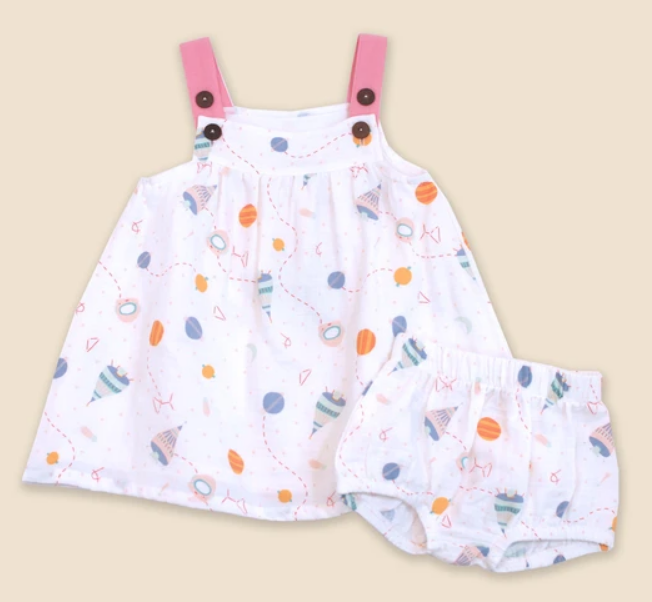 Space is the Place Dress and Bloomer Set by Viverano
