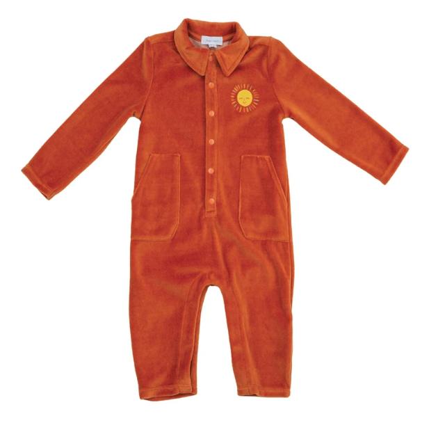 Pumpkin Orange Velour Jumpsuit by Angel Dear