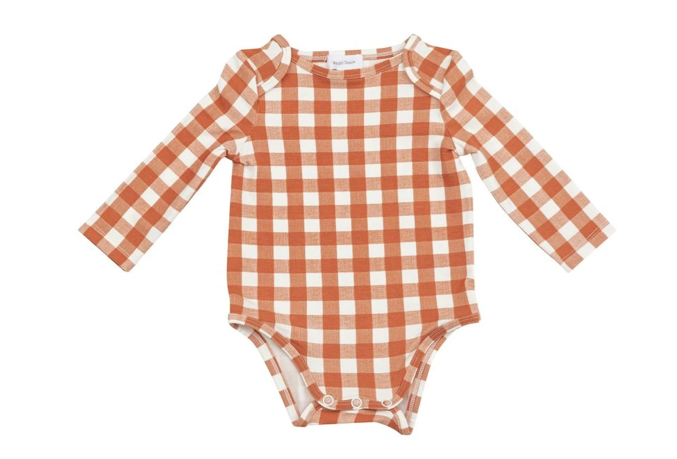 Pumpkin Gingham Onesie by Angel dear