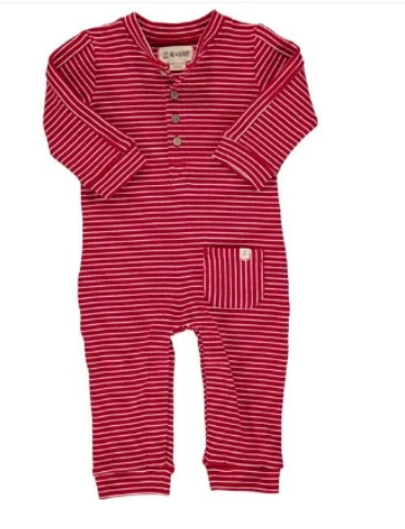 Red Stripe Jersey Romper by Me & Henry