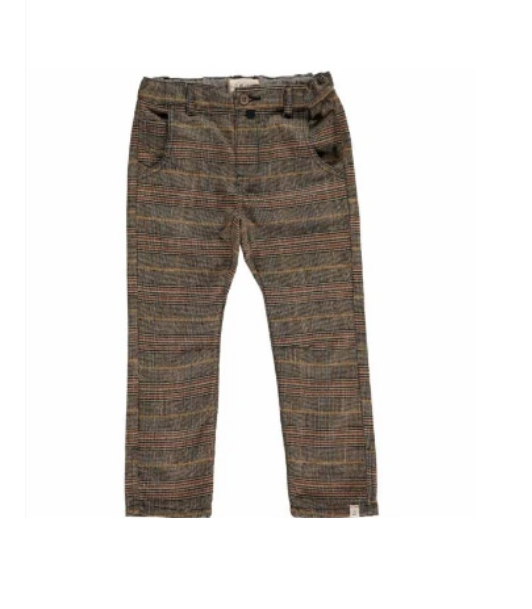 Brown Plaid Woven Pants With Suspenders by Me & Henry