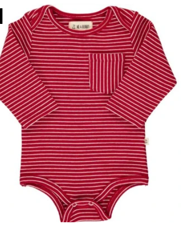 Red and White Stripe Onesie by Me & Henry