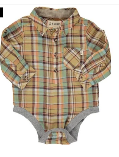 Blue and Mustard Woven Onesie by Me & Henry
