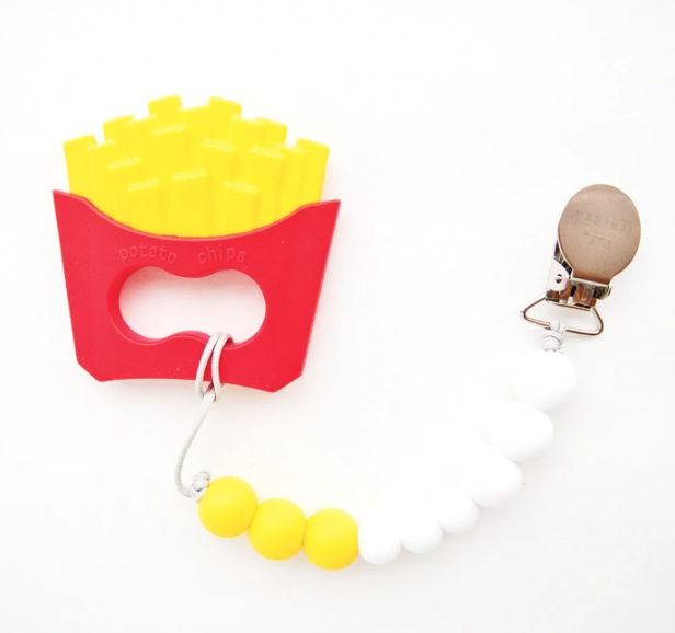 Teether with Bib Clip - French Fries by Loulou Lollipop