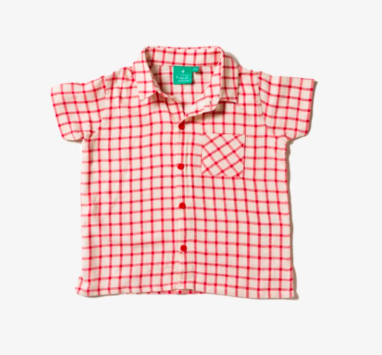 Red Checkered Button Down Shirt by Little Green Radicals