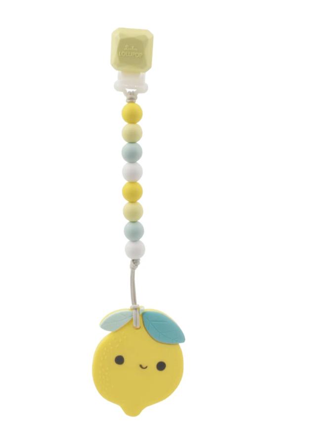 Teether with Bib Clip - Lemon by Loulou Lollipop